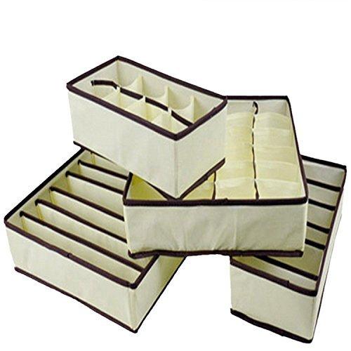 Romote 4 Stück offene Non-Woven Gewebe Storage Box Organizer für Unterwäsche/Bra Stocking beige (Storage-boxen Woven)