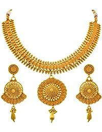 JFL - Traditional Ethnic One Gram Gold Plated Spiral Designer Necklace Set For Women & Girls