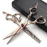 Rose Or 440c haute dureté ciseaux de coiffure japonais salon de coiffure coiffeur coupe de cheveux et cheveux amincissement salon de coiffure professionnel outils (scissors set)