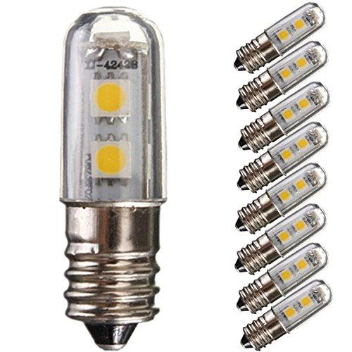 8pcs im Set E141W LED Kühlschrank Leuchtmittel 7SMD 5050Warmweiß Farbe 15W Ersatz für Halogen-Leuchtmittel 3000K 45lm Energiesparlampe 220V [Energieklasse A +]