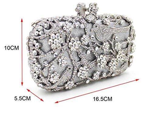 Damen Abendtasche Diamant-Inlay Diamant-Mappe Hand Bankett Tasche Kristall bohren voll Silver