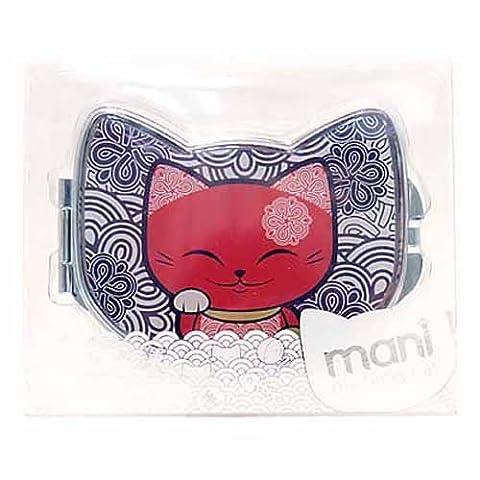 Miroir de sac forme chat porte bonheur Mani the Lucky Cat gris rouge