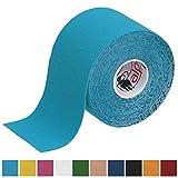 BB Sport 1 rollo Kinesiology tape 5 m x 5,0 cm en varias colores quinesiología cinta elástica banda fisioterapia, Color:azul claro
