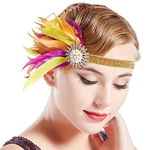 Coucoland Damen 1920s Feder Stirnband 20er Jahre Stil Flapper Charleston Haarband Great Gatsby Damen Fasching Kostüm Accessoires (Lila mit goldenem Band)