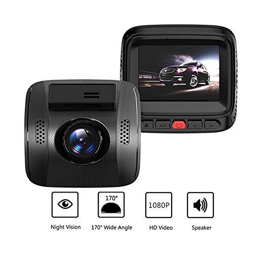 2 im Auto-Kamera-Videogerät HD1080P DVR Schlag-Nocken-Nachtsicht G-Sensor WDR 170 Grad Video Auto DVR Recorder (Schwarz)