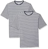 Amazon Essentials Loose-fit Short-Sleeve Stripe Crewneck T-Shirts Homme - lot de 2  - Bleu - bleu marine/blanc - XX-Large