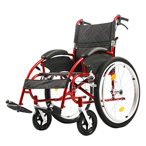 Flashing lights Outdoor-Freizeit Rollstuhl äLtere Wagen Deaktiviert Manuellen Roller Falten Leichte Tragbare Aluminiumlegierung StoßDäMpfer Doppelbremse -