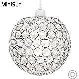 MiniSun - Moderna pantalla para lámpara de techo esférica cromada con ornamentación de efecto cristal acrílico
