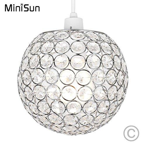 MiniSun - Moderna pantalla para lámpara de techo esférica cromada con ornamentación de efecto cristal