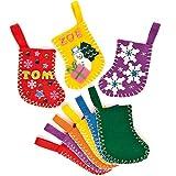 Mini Calze di Natale in Feltro per Bambini, da Creare Decorare e Appendere (confezione da 6)