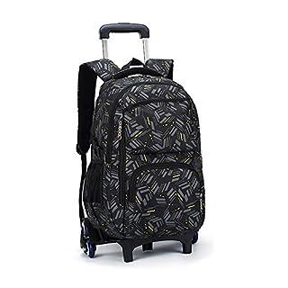 Asdomo Rucksack-Trolley, Rucksack mit 6 Rollen, als Schulranzen für Kinder, Teenager und Studenten, Reisegepäck, Nylon, A3, 12.6X19.3X7.1 inches
