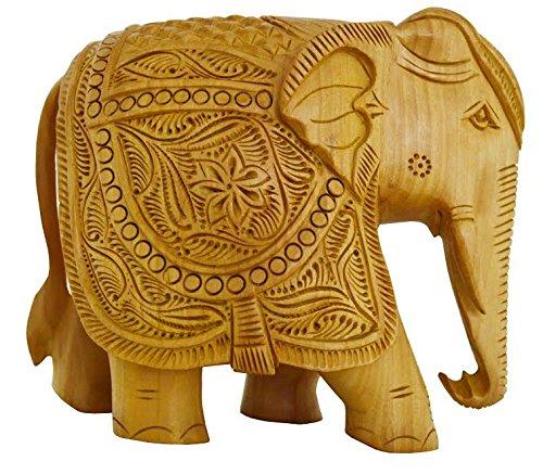 Zap Impex Elefant Dekor- handgeschnitzte Statue aus Holz Sammlerfigur Skulptur Figur - Tischaufsätze und Heimdekorationen