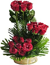 STEPS OF ROSES One Sided Basket Bouquet with Green Fillers & Ferns (25 Red Roses)