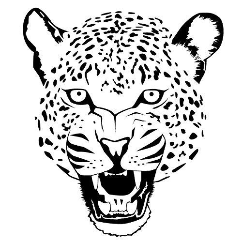 Preisvergleich Produktbild Wadeco Leopard Wild Wandtattoo Wandsticker Wandaufkleber 35 Farben verschiedene Größen, 42 cm x 48 cm, pastellorange