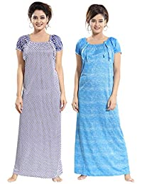 TUCUTE Women Girls Beautiful Dott s Printed + Denim Print Nighty Night  Gown Night a49e24cdb