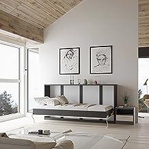 SMARTBett Cama plegable de 90cm horizontal color Nogal /Blanco frente brillante cama plegable & cama de pared sin colchón (Antracita / Blanco frente)