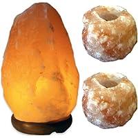 Himalaya Salzkristall Lampe 6-9kg & 2 Kerzenhalter preisvergleich bei billige-tabletten.eu