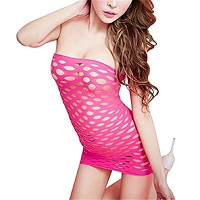 Surded Damen Körper Strumpf Dessous Bodysuit Nachtwäsche (Pink)