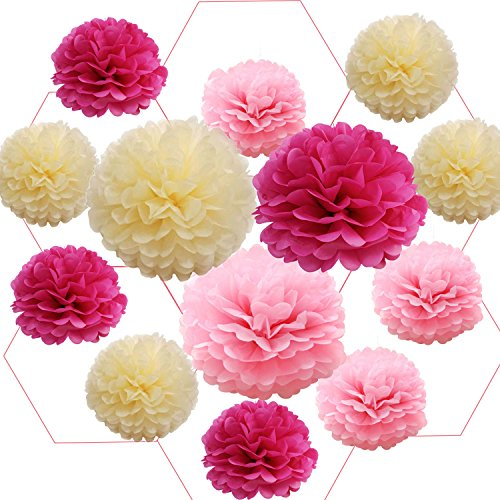 Poms Blume Kugeln Papier Blume Kugeln DIY Aufhängen Papier Blume Dekorative Party Blumen Bälle Seidenpapier Pom Poms für Hochzeit Geburtstag Party Dekoration Blume Bälle Pink, Baby Dusche und Outdoor Dekoration (Pink), rose, 20,3 cm ()
