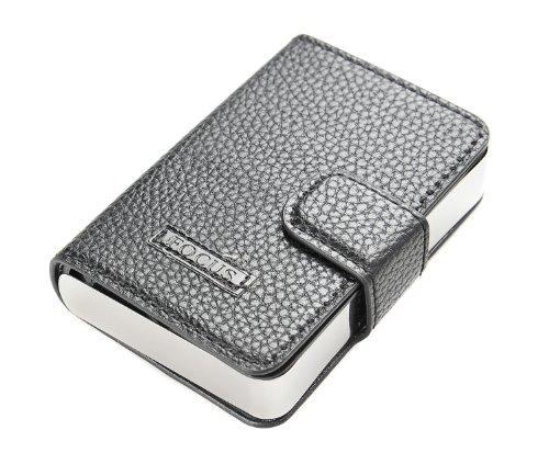 Quantum Abacus Focus Zigarettenetui aus Aluminium mit Lederhülle (10cm x 6,7cm x 2,2cm), schwarz, Mod. 468-01 DE