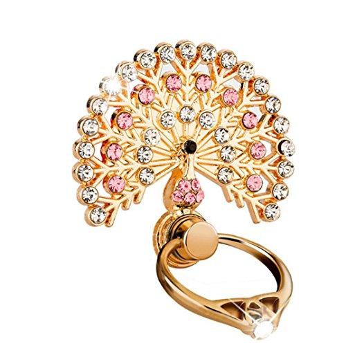 Pfau HIS Tail Creative Halter Ständer, mamum Handy Halterung Uhr Form Metall Finger Ring Ständer Halter Handy Halterung Einheitsgröße rose (S2-diamant-ring)