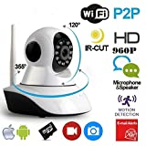 Wizzit© 960P HD WiFi Home Security Camera, Wifi Wireless IP Camera, Pan/Tilt Control, 4x Digital Zoom, Night Vision and Two-Way Audio