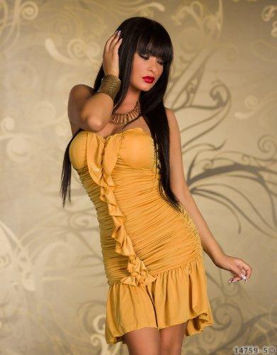 Fashion4Young - Robe - Sans bretelle - Femme moutarde