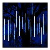 ohCome Meteor Dusche Regen Tropfen Lichter 50cm 10 Spiral Tubes 540 LEDs Wasserdichte Icicle Schneefall String Lichter für Hochzeit Weihnachten Garten Baum Home Decor (Blau)
