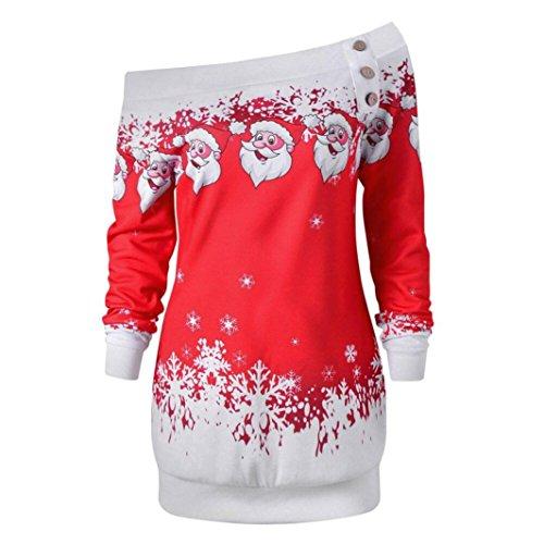 *TWIFER Damen Frohe Weihnachten Santa Snowflake Off Shoulder Langarmshirt Pullover*