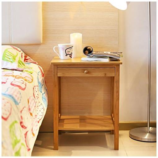 Homfa comodino con cassetto, armadietto di bambù una mensola ...