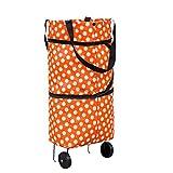 Sfit 40L Einkaufstrolley Handwagen Wellenpunkt Einkaufswagen Tragbar Einkaufsroller 39x49x28cm