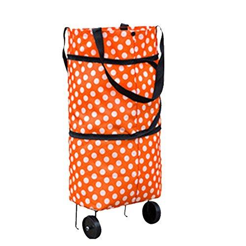 Nibesser sac à Bandoulière Réutilisable Panier de Panier Pliable à Roulettes Porteur de Supermarché Accessoires pour Ménage (orange pois)