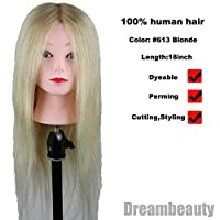 Eseewigs 100% Human Hair Long hair #613 Blonde Color Mannequin Head for Training and Exams