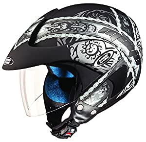 Studds Marshall D4 Open Face Helmet (Matt Black N4, L)