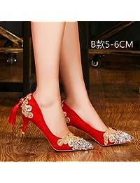 Qingchunhuangtang@@ Zapatos de Boda, Zapatos de Novia, Zapatos de Cristal, Top, Zapatos de Tacones Altos,Thirty-Six...
