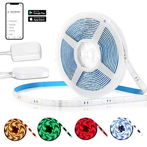 Luces de Tira LED WiFi, Deknei 5 Metros RGB Tiras LED de Luces Kit Completo, Impermeable Multicolor, Completo Funciona con Alexa, Google Home, para Navidad, Habitación, Jardín, Bar, Fiesta