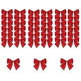 BOELLRUNO 120 Stück Weihnachten Schleifen Zierschleifen Weihnachtsbaum Schleifen Rot Weihnachtsdeko für Weihnachtsbaum, Dekorationen, Geschenke, Kunst und Handwerk (A)