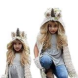 Cappello Unicorno Peluche per Bambine, Bonice Bambini Autunno Inverno per Ragazze Accessorio Travestimento Natale Fashional Cappuccio Unicorno del Panno, Forniture del Partito Animale del Fumetto Cartoon Unicorno Giacche Cosplay Abbigliamento (i guanti 3 del cappello del cappello del corno dell'orecchio in 1) - Bianco