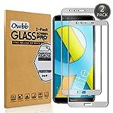 Owbb [2 Pièces] Film Protecteur D'écran en Verre Trempé pour Huawei Honor 9 Lite (5.65 pouce) Gris Couverture Complète Protection 99% Haute Transparent Anti-déflagrant
