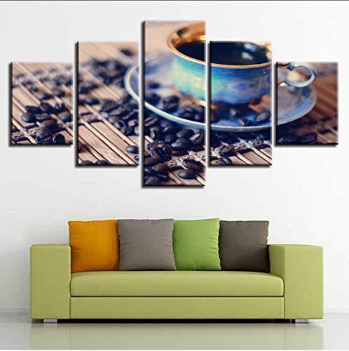 syssyj (Kein Rahmen) Leinwand Modular Pictures Artwork Hd Druckt 5 Stücke Kaffee Und Kaffeebohnen Gemälde Poster Dekor Für Wohnzimmer Wandkunst