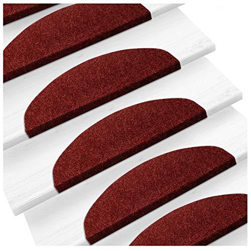 Etm - Set di 15 tappetini coprigradini, superficie comoda e antiscivolo, colori assortiti, misura: 23 x 65 cm, Polipropilene, rosso, 23 x 65 cm
