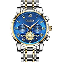 Men Watches Silver and Gold Stainless Steel Band Blue Chronograph Analog Cutout dial Watches for Male, Classic Date Day 30m Water Resistance Luminous OLEVS Brand 2020