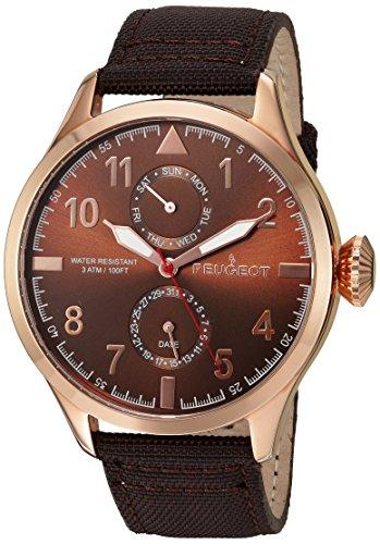 peugeot-da-uomo-oro-rosa-cinturino-in-tela-marrone-data-e-giorno-aviator-orologio
