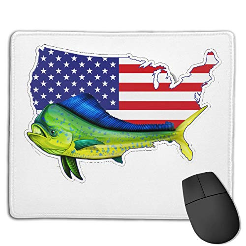 Zhengzho Mahi Fish USA Bandera Americana Mouse Pads,Alfombrilla  Antideslizante para Mouse,Alfombrilla para Mouse de Borde Cosido Lavable  para