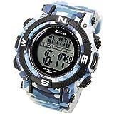 [Lad Weather] potente solare digitale orologio sportivo militare lap split orologio da uomo