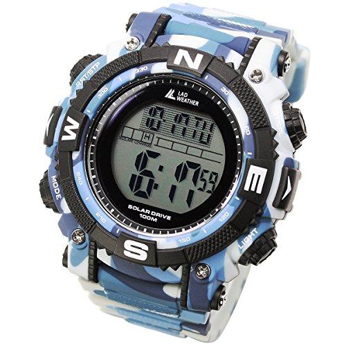 [LAD WEATHER] Digitaluhr mit leistungsstarker Solarbatterie, bis 100 Meter wasserdicht Militär Outdoor Smartwatch