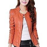 Mujer Mangas Largas Casual Zip PU Cuero Biker Jacket Chaqueta Para Naranja XL