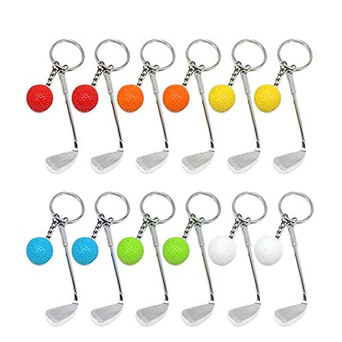 Creatiees Mini Golf Schlüsselanhänger mit Golfschläger Schlüsselring und Golfball Golfgeschenk Geschenk Schlüs (12 Stücke) -