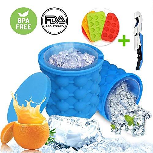 Ice GENIE cubetti di ghiaccio, silicone GENIE secchiello per il ghiaccio il rivoluzionario risparmio di spazio grande portatile Ice Cube secchio con coperchio (Gift apribottiglie)