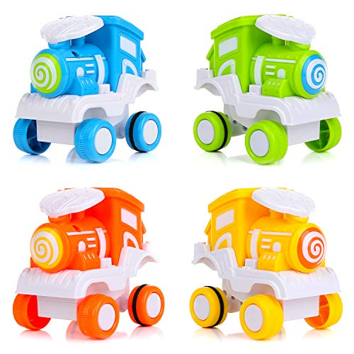 BBLIKE Spielzeugautos, 4 Stücke Früherziehung Babyspielzeugautos Zurück Schieben Spielzeug Autos Pull Back Cars Spielzeugeisenbahn Set für 3 Jahre alte Jungen & Mädchen Geschenk